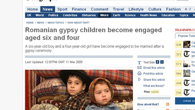 Sześcioletni chłopiec i czteroletnia dziewczynka zostali zaręczeni podczas cygańskiej ceremonii