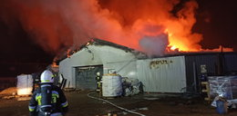 Pożar tartaku w Przeciszowie. Ranny strażak