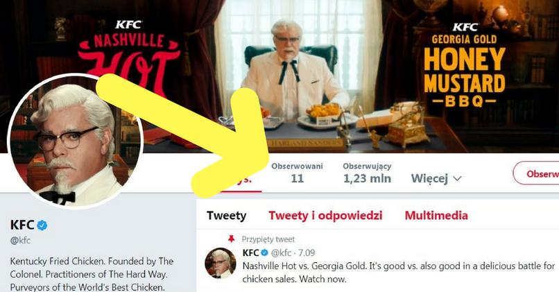 KFC na Twitterze śledzi konta tylko 11 osób
