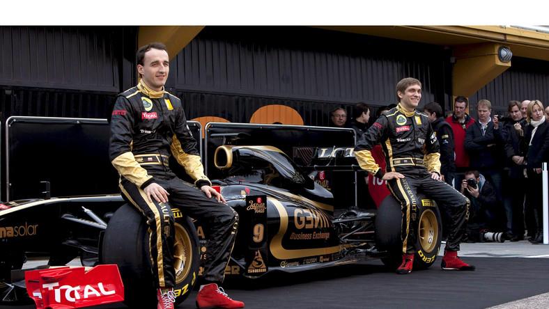 Robert Kubica i Witalij Pietrow na prezentacji nowego bolidu Renault