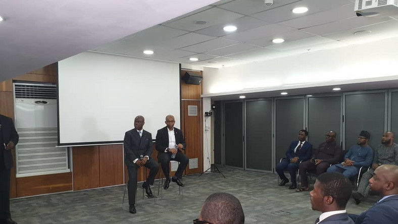 Herbert Wigwe, Access bank CEo and Uzoma_Dozie, Diamond bank CEO at an interview session on Wednesday, January 16, 2019 (Twitter/Diamond Bank)