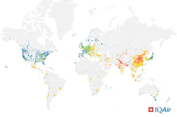 Jakość powietrza na świecie - mapa, źródło: IQAir