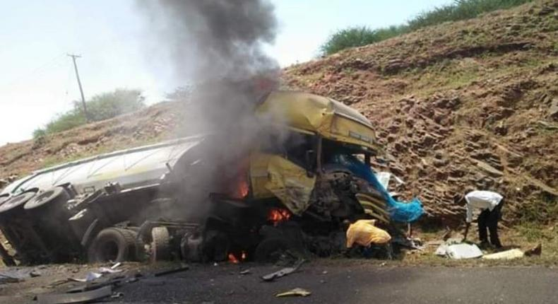 Major highway blocked as 2 truck burn up in flames
