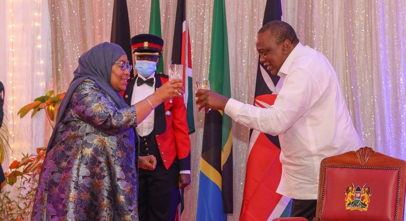 President Uhuru Kenyatta with Tanzanian President Samia Suluhu