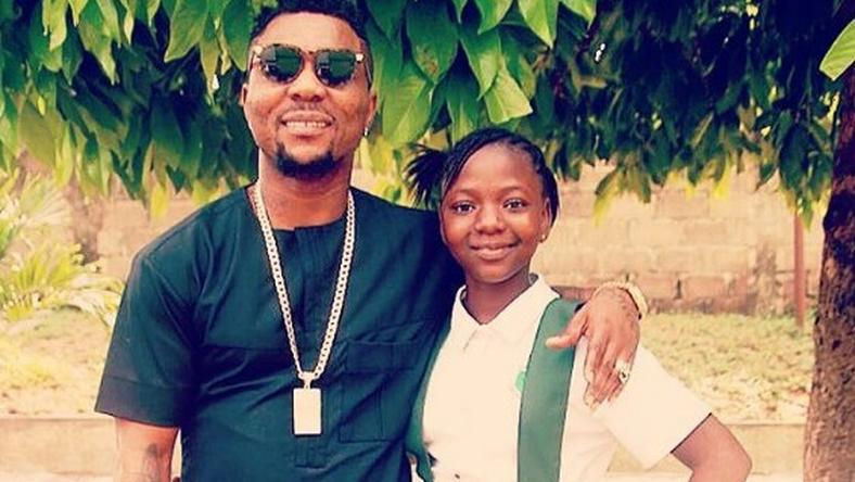 Oritsefemi celebrates with his daughter, Patience as she turns a year older