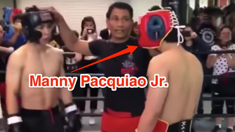 Manny Pacquiao's son at a boxing match