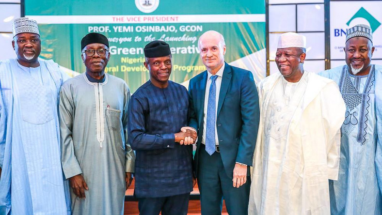 "Vice President Yemi Osinbajo at the launch of the ""The Green Imperative"", in Abuja, January 17, 2018 (Facebook/Aso Rock Villa)."