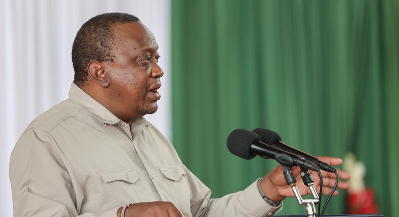 President Uhuru Kenyatta speaks during the operationalization of the first berth at the new Lamu Port