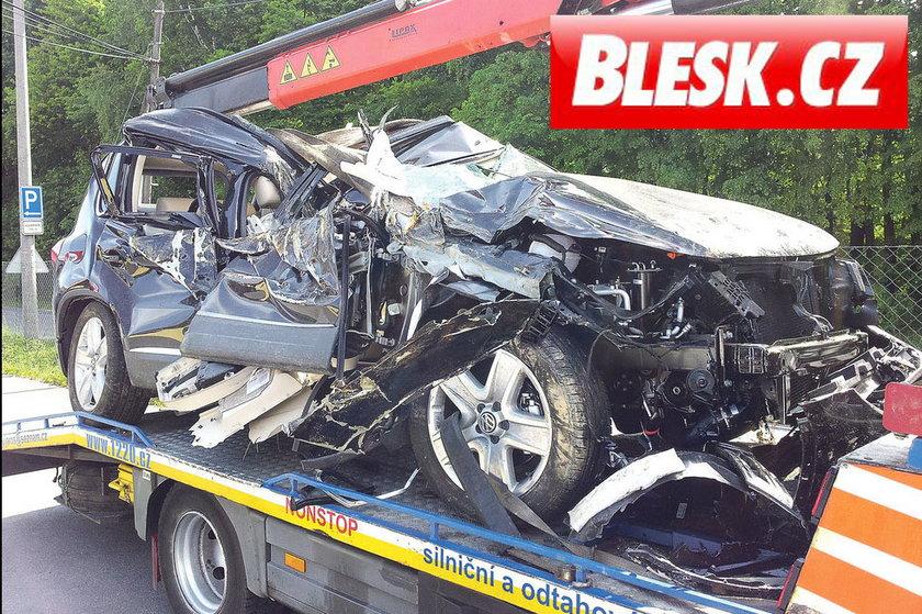 Samochód Ewy Farnej po wypadku