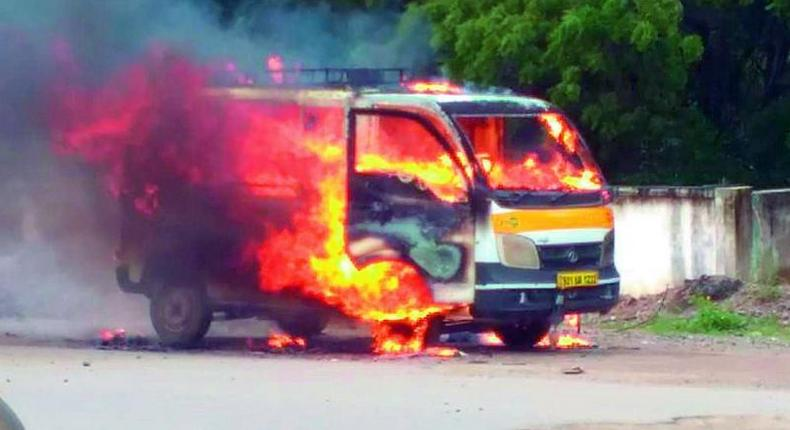 File image of a van on fire. Several narrowly escape death after ambulance bursts into flames