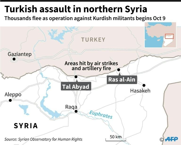 Map locating Ras al-Ain and Tal Abyad in northern Syria, which was hit by air strikes and artillery fire in the Turkish offensive against Kurdish militants on Oct 9.