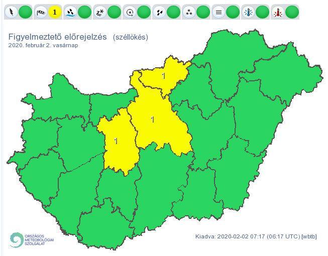 Erős széllökésekre figyelmeztet az OMSZ / Forrás: met.hu