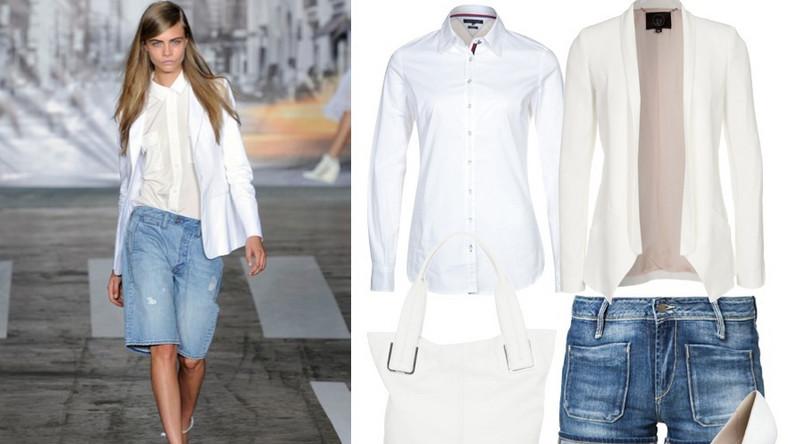 Osobom kochającym szyk i swobodę na pewno spodoba się propozycja marki DKNY. Wytarte jeansy kontrastują z białą koszulą i świetnie skrojoną marynarka. Połączenie jest tym bardziej nonszalanckie, że marynarka i koszula są w innej tonacji bieli. W kolażu użyte zostały produkty z Zalando.pl: Białe szpilki Mai Piu Senza, 349,00 zł Szorty jeansowe School Rag 219,00 zł Biała bluzka koszulowa Tommy Hilfiger 389,00 zł Biały żakiet,SLY 1759,00 zł Biała torba CK Calvin Klein 1019,00 zł