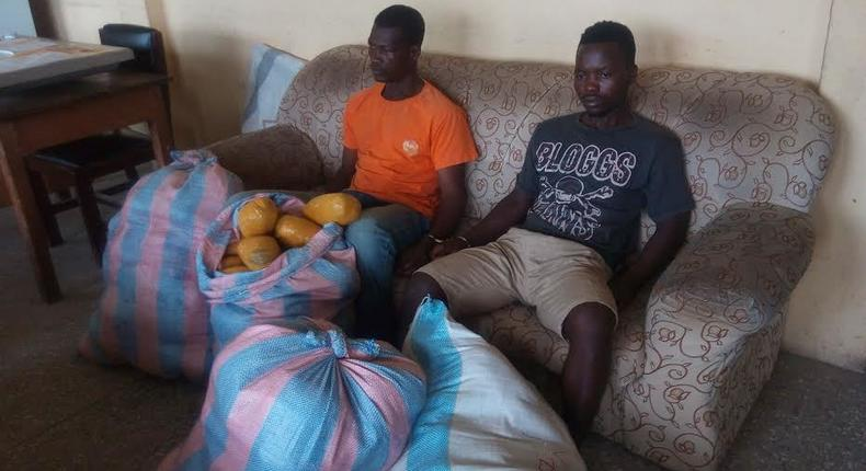 The two suspects, Yemoh Odoi, alias Attah aged 51 years, and 21-year-old Prince Otibu