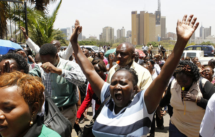 Kenyan civil servants protesting at a past event.