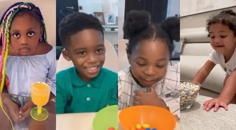 'Don't Eat It' Challenge featuring kids of Davido, Tiwa Savage, Kylie and more (WATCH)