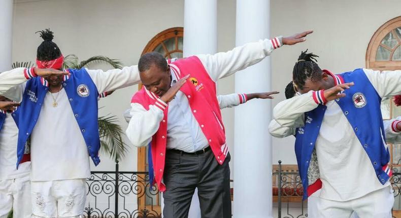 President Uhuru Kenyatta dabbing