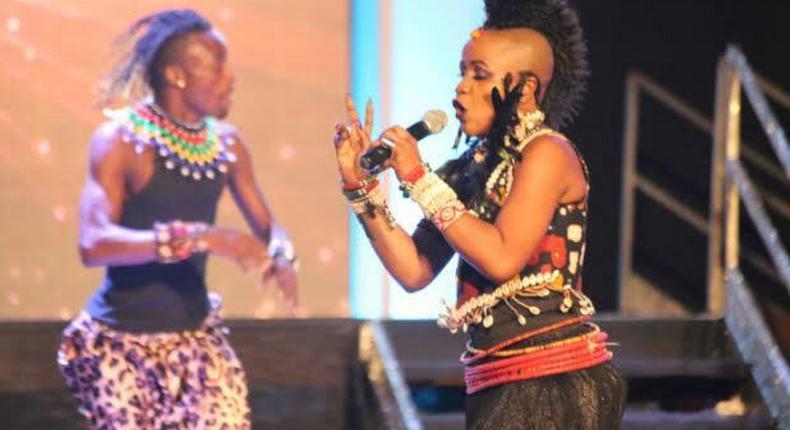Sherifa Gunu with one of her dancers at Miss Ghana 2015