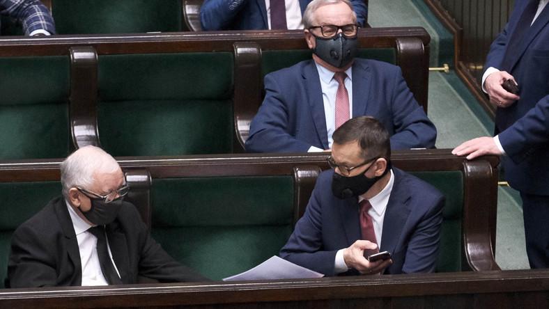 Wicepremier, prezes PiS Jarosław Kaczyński oraz premier Mateusz Morawiecki