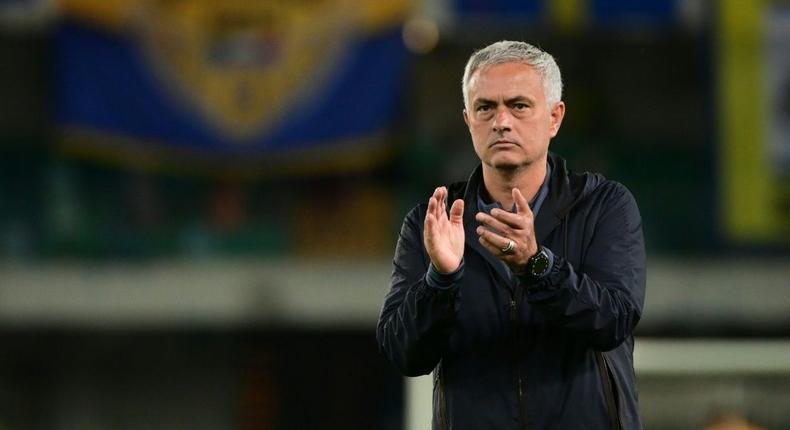 Jose Mourinho saw Roma's perfect start to the Italian season ended by Verona Creator: MIGUEL MEDINA