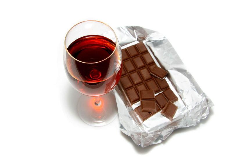 Czekolada i czerwone wino