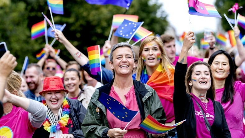 Opprobrium from the White House has helped make Vestager a star, with competition authorities around the world following in her footsteps in moves against big tech. She is shown here at the Copenhagen Pride Parade last month