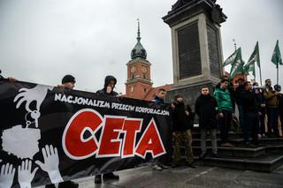 Warszawa: Młodzież Wszechpolska protestuje przeciwko CETA