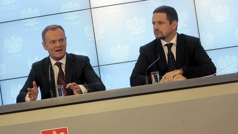 Premier Donald Tusk , Rafał Trzaskowski podczas konferencji dotyczącej planu resortu administracji i cyfryzacji na 2014 rok