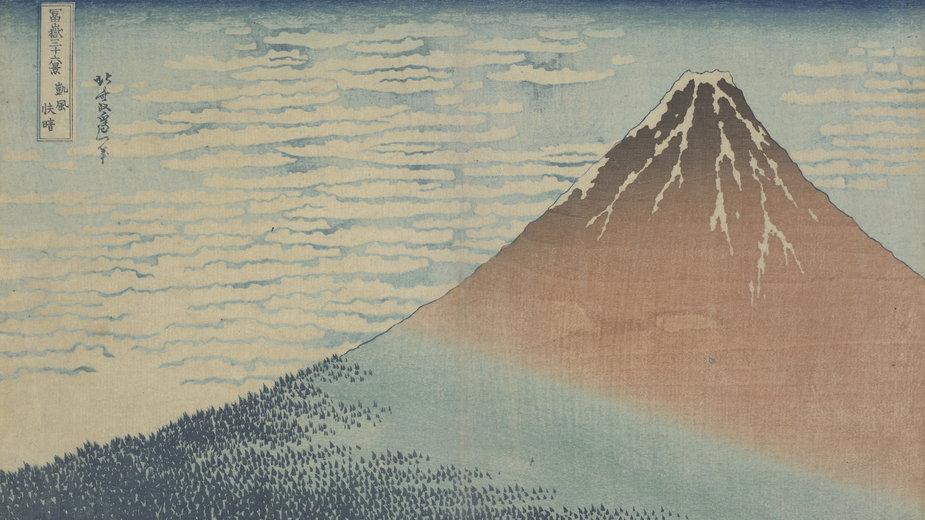 """Hokusai - """"Piękna pogoda przy południowym wietrze Gaifu kaisei"""" z serii """"Trzydzieści sześć  widoków góry Fuji"""""""