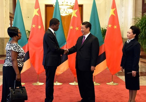 President Xi Jinping held talks with President Edgar Lungu of Zambia at the Great Hall of the People, 2015