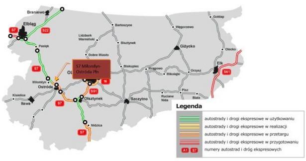 S7 Miłomłyn-Ostróda - mapa nowego odcinka