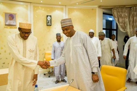 Then Senate President, Bukola Saraki with President Muhammadu Buhari during a meeting at the Presidential Villa on April 26, 2016. (Presidency)
