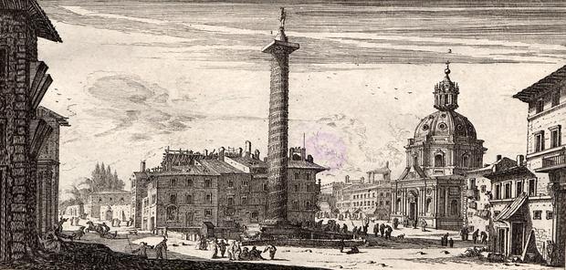 Podczas podróży po Europie Mikołaj Krzysztof Radziwiłł odwiedził Rzym. Pod wpływem tej wizyty przeszedł na katolicyzm. Na grafice z 1651 roku widoczna kolumna Trajana w Rzymie.