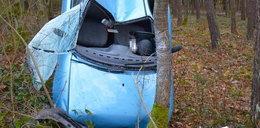Samochód zawisł na drzewie w Hutkach. Jak to się stało?