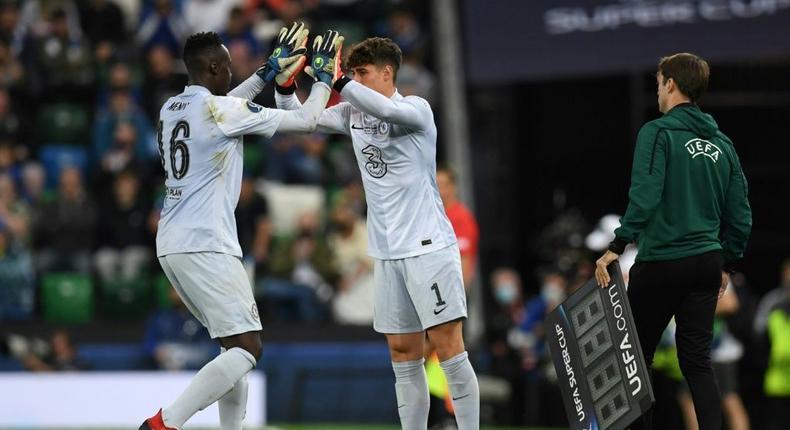 Chelsea goalkeeper Kepa Arrizabalaga (R) and Edouard Mendy (L) Creator: Paul ELLIS