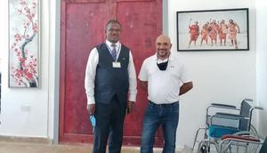 Hamptons Hospital CEO Hon. Dr. Maurice Siminyu (left) and Atos Senior project manager for SADC region Virgil Shetty at Hamptons Hospital in Mwale Medical and Technology City on June 8th, 2021