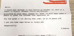9 lat temu wrzucił do morza list w butelce. Właśnie dostał odpowiedź
