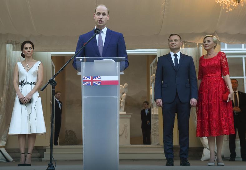 Księżna Catherine podczas przyjecia w Łazienkach Królewskich