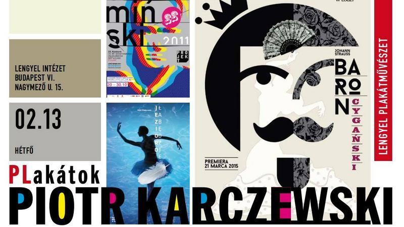 Plakat reklamujący wystawę polskiego twórcy Piotra Karczewskiego