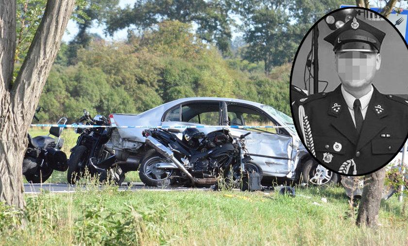 Staruszka wjechała w grupę motocyklistów. Strażak ochotnik zginął na miejscu