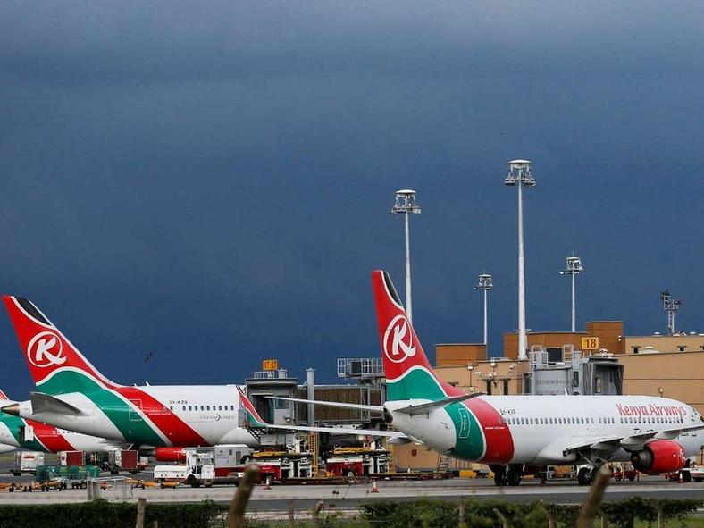 A Kenya Airways plane at JKIA.