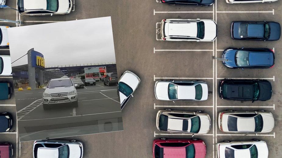 Kobieta zaparkowała mercedesa, zajmując trzy miejsca parkingowe (Fot. YouTube/Polscy kierowcy)