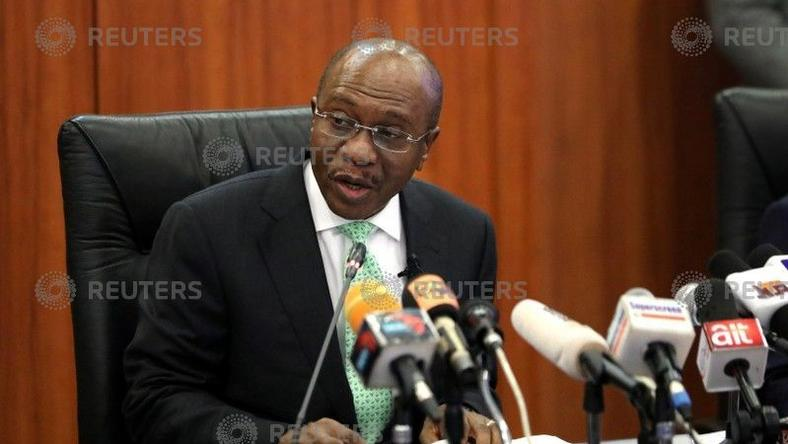 Nigeria's Central Bank Governor Godwin Emefiele speaks during the monthly Monetary Policy Committee meeting in Abuja, Nigeria May 22, 2018.