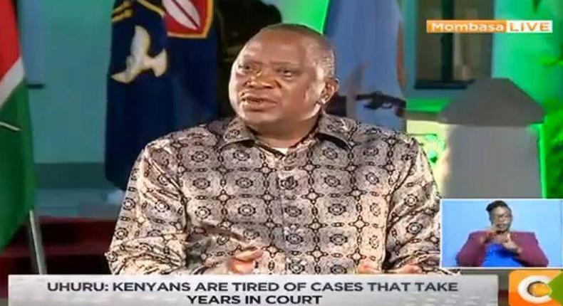 President Kenyatta addressing the media from Mombasa