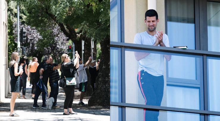 Novak Đoković na balkonu u Adelejdu