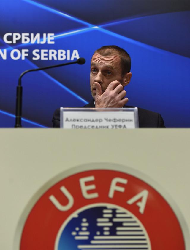 Aleksandar Čeferin, predsednik UEFA, tokom ranije posete Fudbalskom savezu Srbije