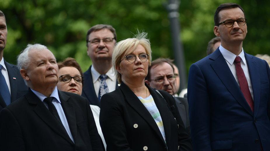 Jarosław Kaczyński, Julia Przyłębska i Mateusz Morawiecki