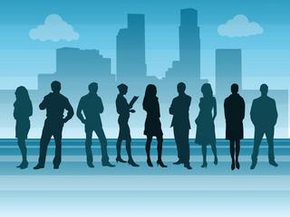 illustration of business people walking with cityscape in backgr