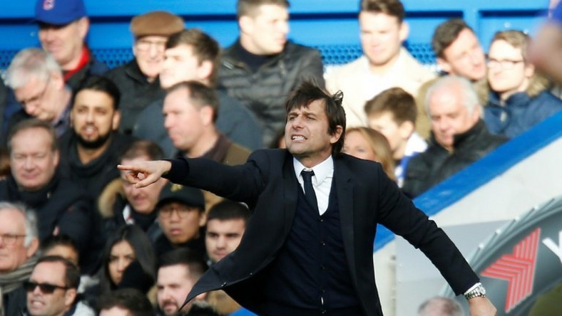 Chelsea's coach Antonio Conte gestures from the touchline during their match against Arsenal at Stamford Bridge in London on February 4, 2017