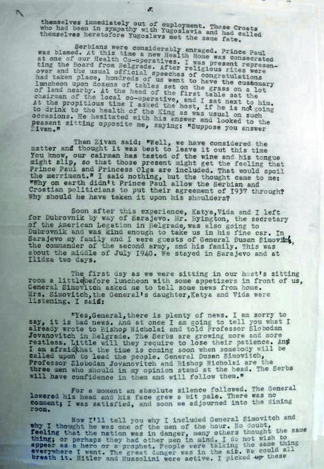 """Priprema terena: U pismu američkom prijatelju, Radin za Simovića navodi da """"oseća i misli isto što i srpski seljaci"""", a da """"o pravima ljudi govori isto što i predsednik Ruzvelt"""""""